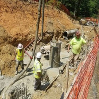 Contractor drilling caisson foundation for Retaining Wall #3.