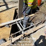 Concrete placed for 28.5 pendant post St. Lt. Foundation.