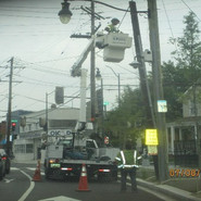 Rigid PVC U-Guard on wood pole at Northbound MLK & Randle St, SE.