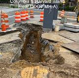 Conduit trench at Columbia & Harvard island. (near DDOT MH-A)