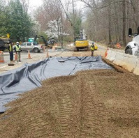 Contractor continued roadway excavation, placed Geotextile fabric and GAB.