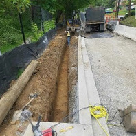 Contractor excavated to install Bioswale, LID7-3.