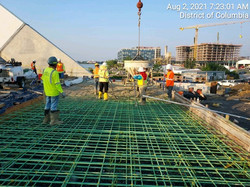 Placing concrete for the West Abutment south approach slab.