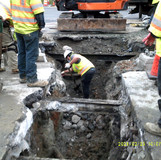Excavated trench at 16th St. NW& Harvard St.