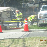 Pulling wires and charging the cabinet at WB Lebaum St, SE & SB MLK.