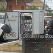 DDOT Traffic signal inspectors checking Traffic Control Cabinets along MLK Ave.