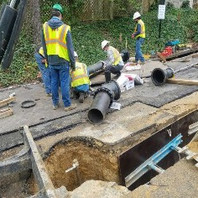 Contractor for DC-Water works installed DIP for Tie-in operation.