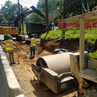 Contractor continued roadway excavation work, undercut and placed GAB on Geotextile.