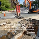 Hammering pavement between DDOT MH-A & DDOT MH-E. (Columbia & Harvard island)