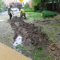 Contractor excavated for restoration of irrigation on Unicorn Lane along Oregon Avenue.