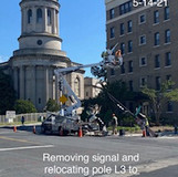 Removing signal and relocating pole L3 to temp. concrete base. (NE 16th & Harvard)