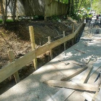 Contractor excavated trench for PCC Coping wall.