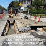 Conduit between DDOT MH-H & DDOT MH-G. (NE Harvard, SE Columbia at 16th)