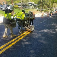 Contractor continued to place pavement Markings, painted Thermo solid lines and symbols.