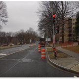 Arrow board direct traffic at 16th St. NW& Arkansas Ave.