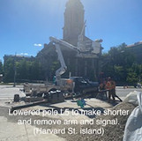 Lowered pole L5 to make shorter and remove arm and signal. (Harvard St. island)