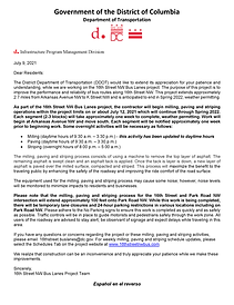 16th Street Bus Lanes - Resident Letter (MPS-Park Road Extended Paving) Final with Spanish