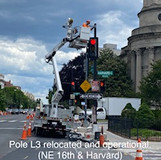 Pole L3 relocated and operational. (NE 16th & Harvard)