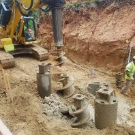 Sub-Contractor for caisson @ retaining wall #3 continued to drain flooded caissons.