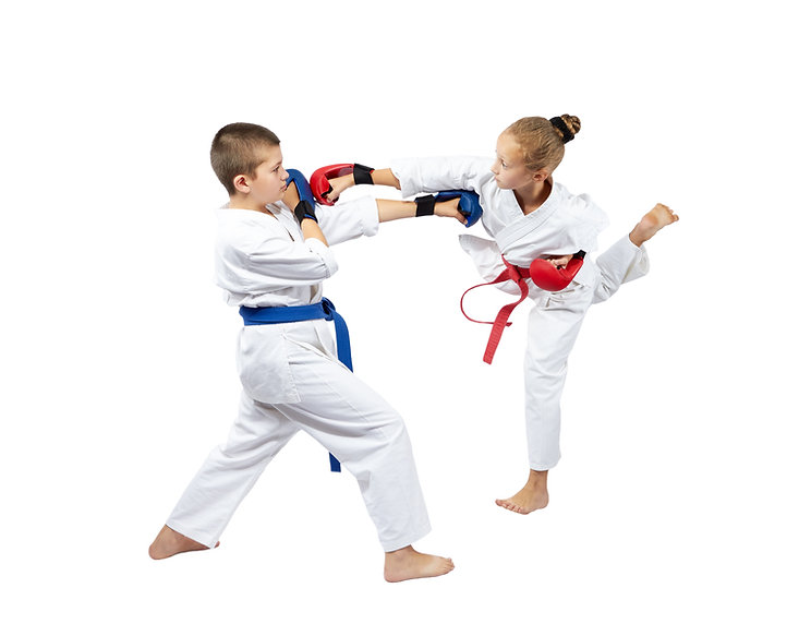 A girl with a red belt hits a boy with b