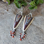 Fordite and Garnet Sterling Silver Dangl