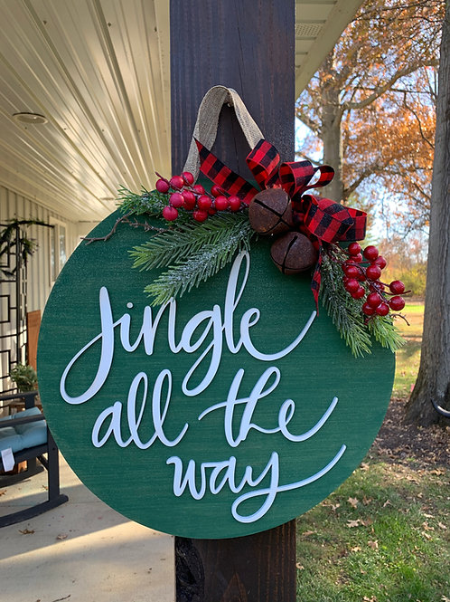 Jingle All the Way laser cut round sign