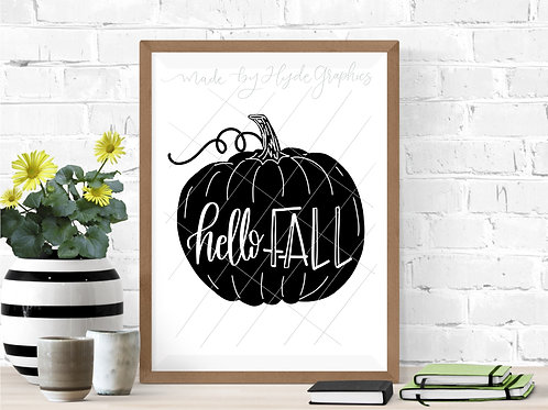 Hello Fall Pumpkin digital file