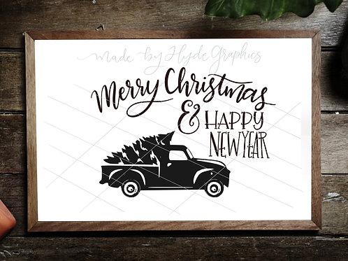 Merry Christmas truck digital file