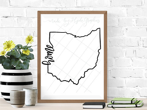 Ohio Home outline digital file