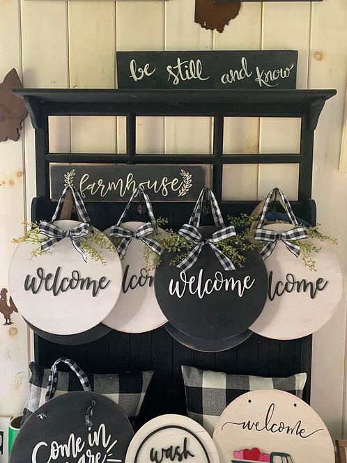 Welcome Door Sign w/greenery