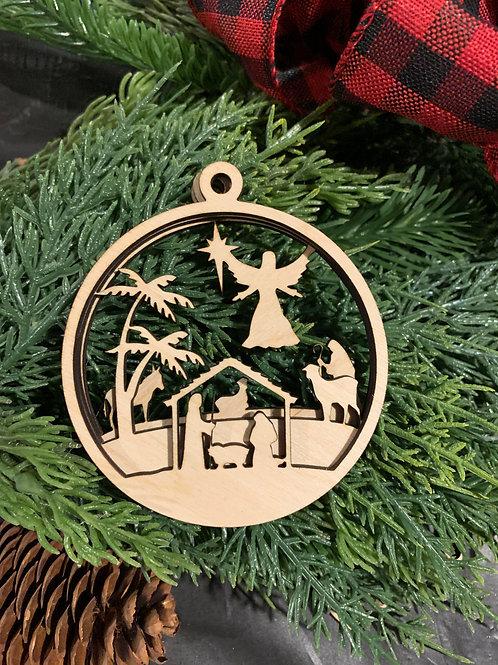 Nativity layered ornament