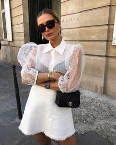 white puff sleeve blouse organza polka dot