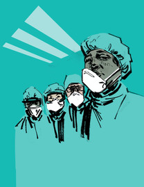 Surgeons wearing surgical face masks/protectors.