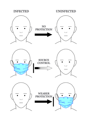 Coronavirus face mask diagram, demonstrating effectiveness.