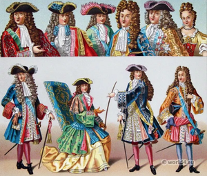Illustrations of male fashions from the Versailles court.
