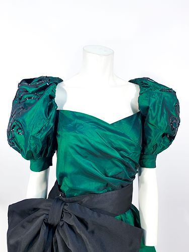 1980s puff sleeve party dress