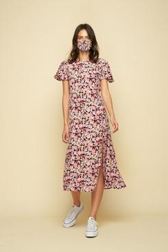 Stylish face mask and matching dress