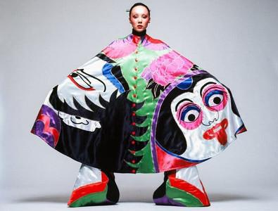 Kansai Yamamoto Colourful Cape With Kabuki Design