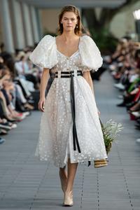 White puff sleeve dress polka dot