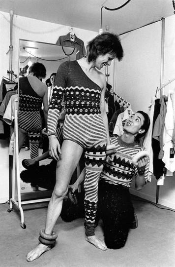 Kansai Yamamoto and David Bowie Bodysuit Fitting