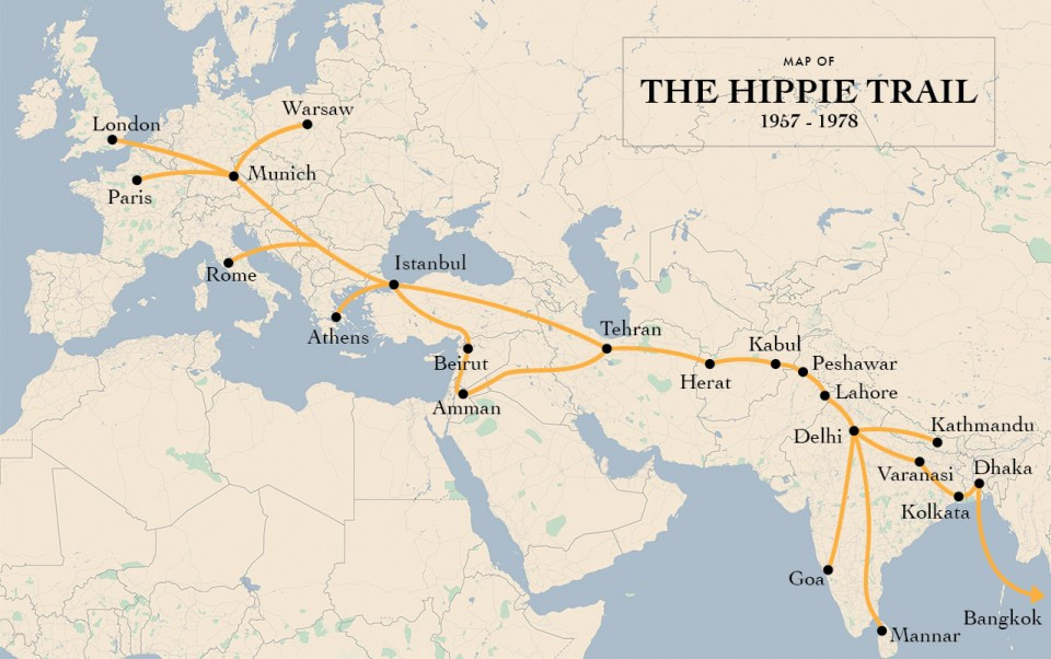 Hippie Trail map, starts at London, goes through Europe to Greece and Turkey, then onto Iran, through Afghanistan, then to India, Nepal, and then ends in Thailand.