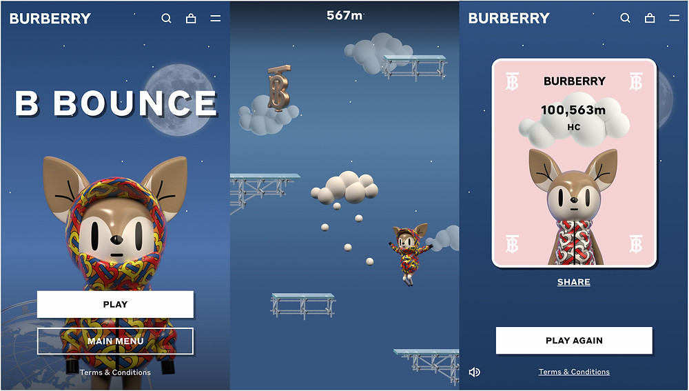 An image of Burberry fashion brand deer mascot and screenshot from their platformer game named B Bounce.