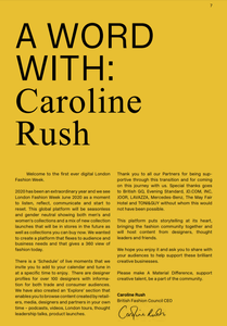 Page from London Fashion Week Brochure with Caroline Rush