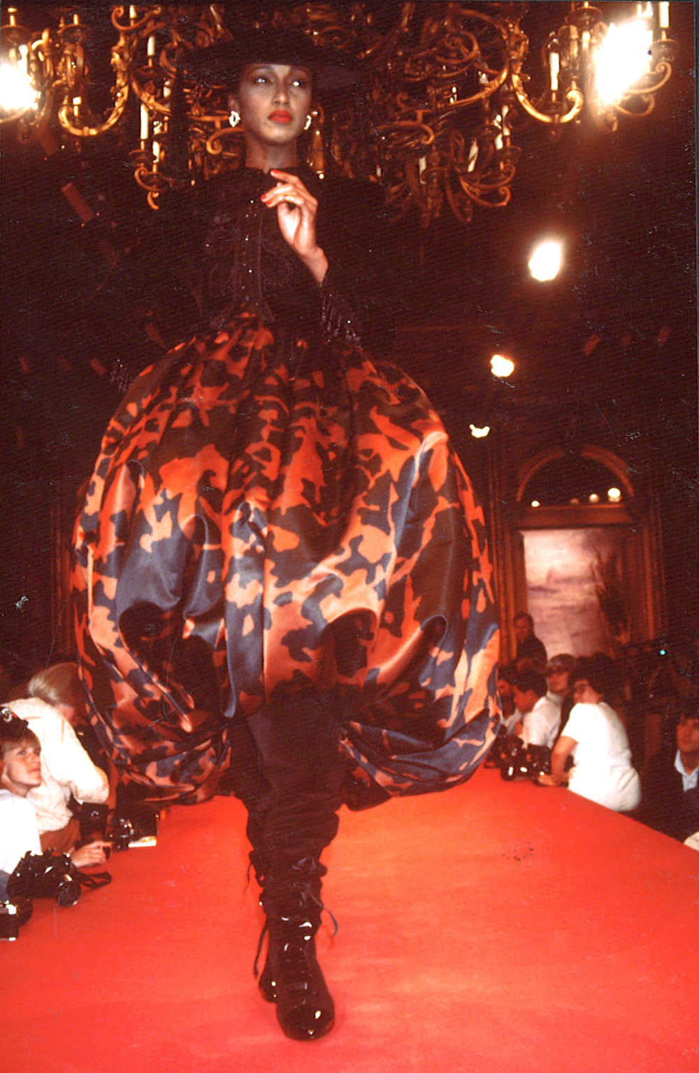 Model wearing Christian Lacroix - 1987 autumn/winter collection.