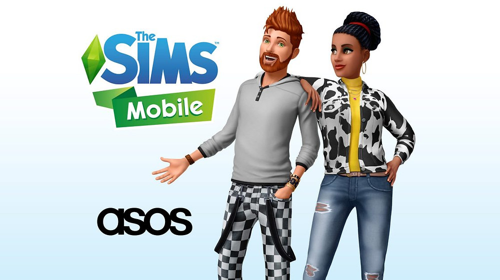 Advertisement of The Sims Mobile x Asos collaboration. Two sims are wearing clothing from the website.