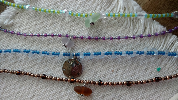 Seaglass Anklets- made in Maine!