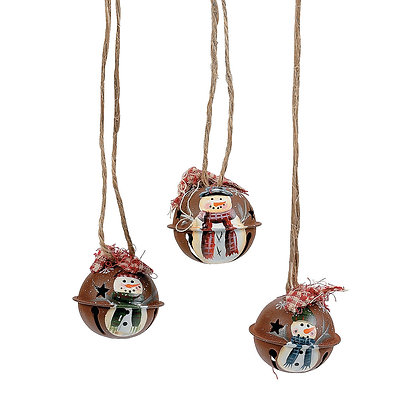The cutest rustic handpainted snowman jingle bell!