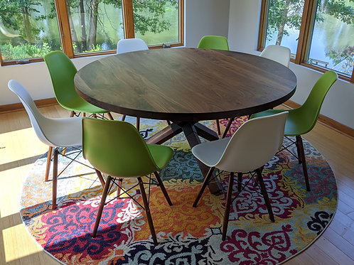 Round Walnut Dining or Conference Table