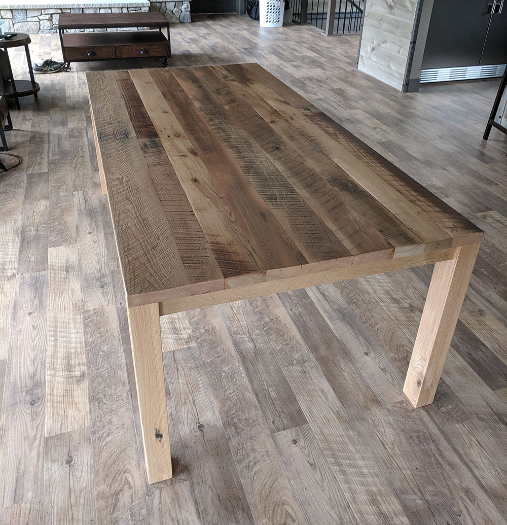 Rustic Parsons Style Dining Table