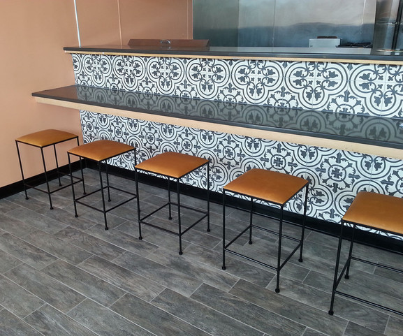 Leather and iron stools